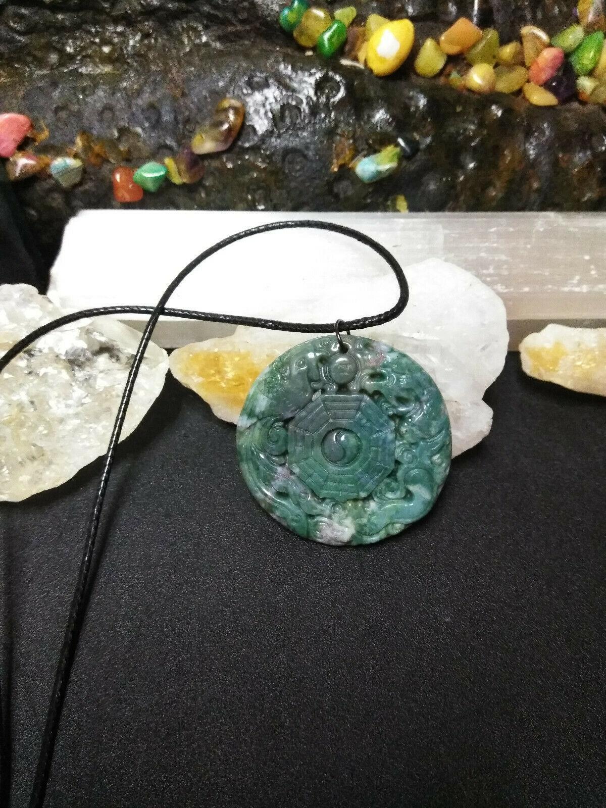 Necklace, Yin-Yang Symbol W/ Dragon Hand Carved Natural Jasper  Women or Men image 3
