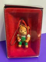 Enesco 1987 Teddy's Suspenders Hanging Christmas Ornament Teddy Bear - $14.84