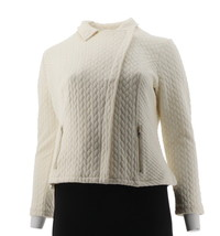 Isaac Mizrahi Mixed Quilted Knit Motorcycle Jacket Front Zip Cream L NEW... - $40.57