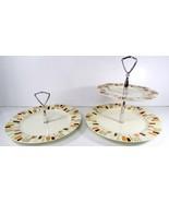 Vintage Red Wing Pottery Ceramic Handled Tidbit Dessert Handled Trays Pl... - $49.49