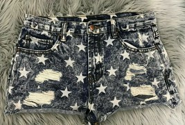 Forever 21 Jean Shorts Size 28 Distressed 4th of July Star Theme - $12.82