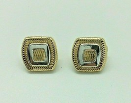 Vintage Napier Clip-On Earrings Gold Silver Tone Square Wave Women Jewelry - $14.84