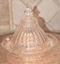 "Vintage CLEAR Crystal Glass Butter Cheese Dome BELL SHAPED RIBBED Cover 8""W - $49.99"