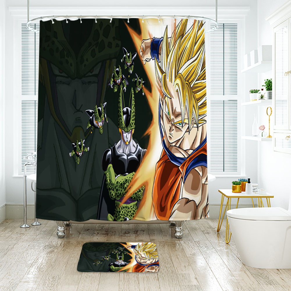 Primary image for Cartoon 56 Shower Curtain Waterproof Polyester Fabric & Bath Mat For Bathroom