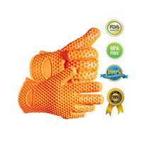 Pair Silicone Heat Resistant Gloves Oven Grill Pot Holder BBQ Cooking Mitts - $11.12