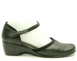 Easy Spirit Women Ankle Strap Wedge Heels Size US 8.5M Black Leather - $18.00