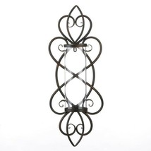 Heart Shaped Iron Wall Sconce w/ Hurricane Glass Pillar Candle Holder - $48.45