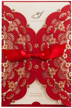 50X Elegant Red Laser Cut Wedding Invitations Cards with Lace Flower Rib... - $84.08