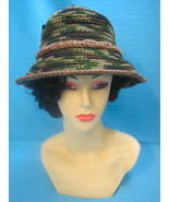 Handmade Crochet Fun Sun Hat Brown Sitting Dog on Camouflage - $27.00
