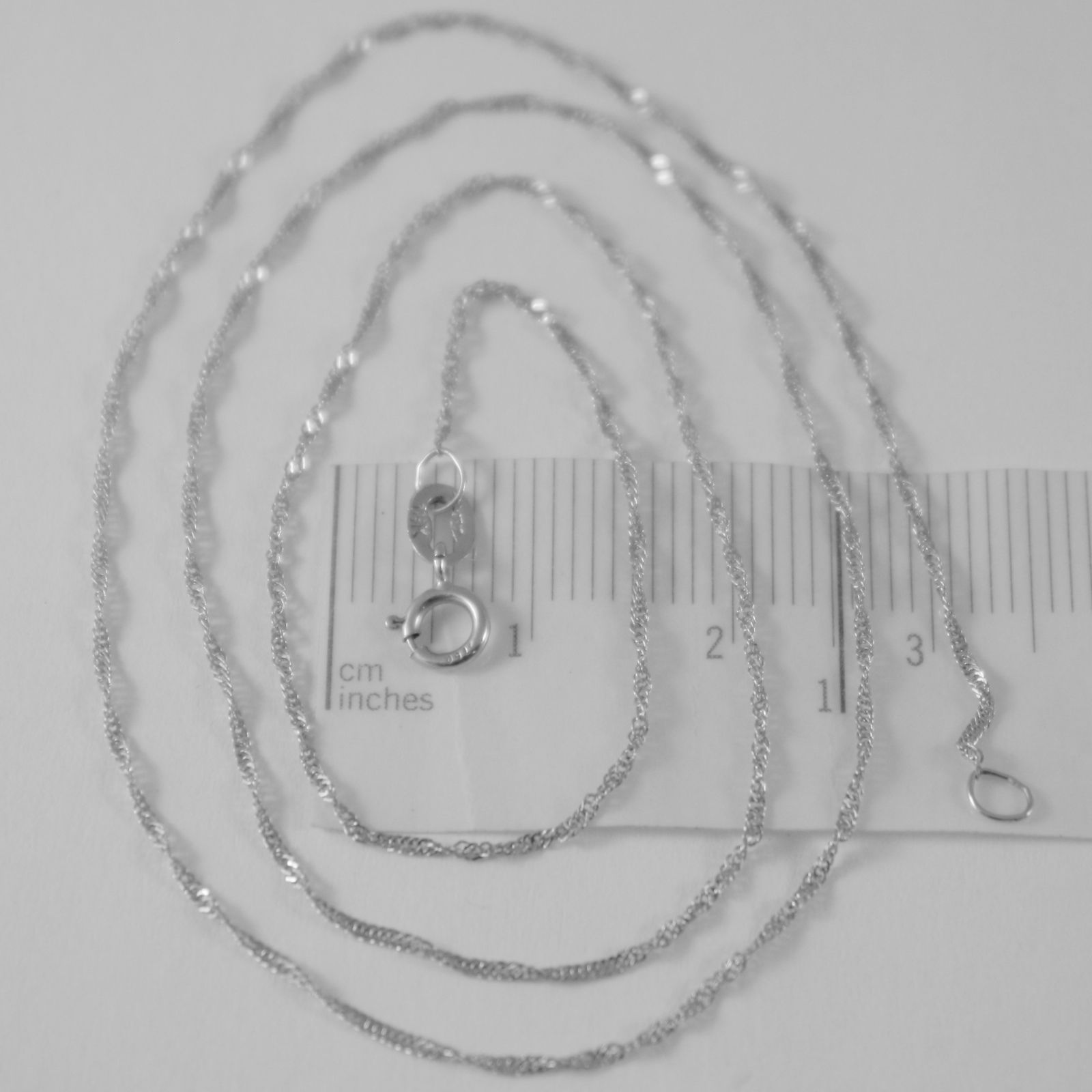 SOLID 18K WHITE GOLD SINGAPORE BRAID ROPE CHAIN 16 INCHES, 1 MM, MADE IN ITALY