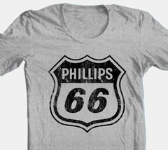 Phillips 66 T-shirt distressed vintage style heather grey tee Free Shipping image 1