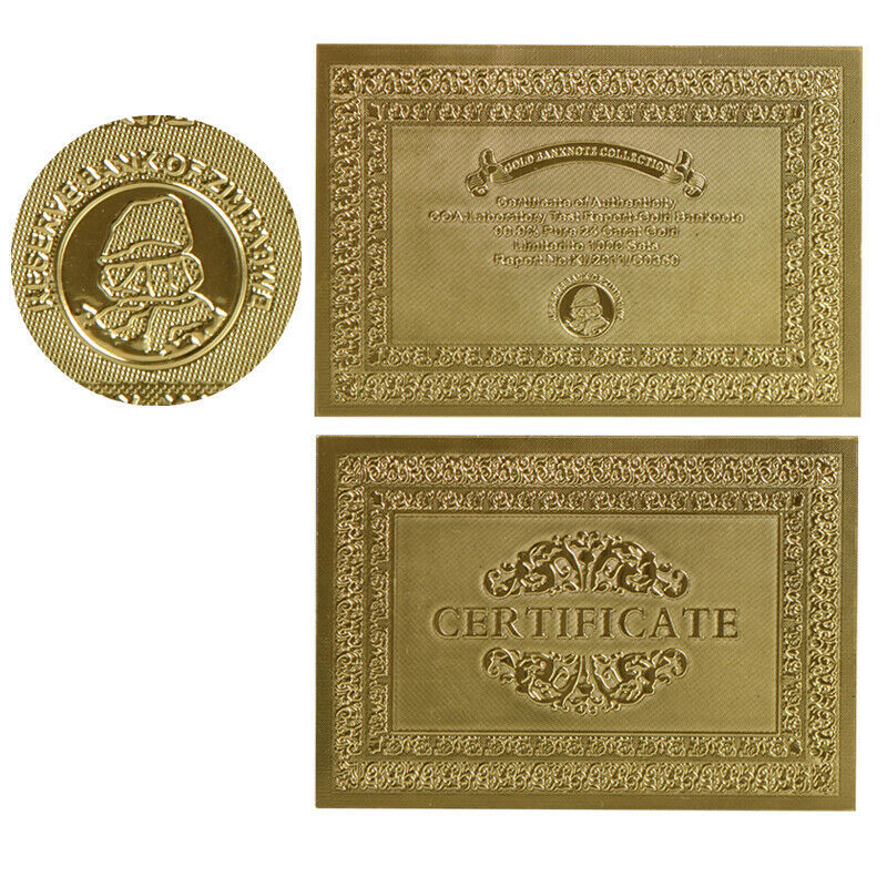 WR 10pcs Zimbabwe 100 Trillion Dollar Gold Banknote Polymer Note /w Zimbabwe COA