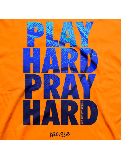"Christian Mens T-Shirt ""PLAY HARD"" by Kerusso - NEW"