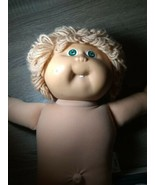 Cabbage Patch Girl Doll 1983 Blue Eyes Dimples Tooth Blonde Yarn Hair Naked - $19.77