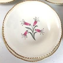 Homer Laughlin Honeysuckle Saucers Bowls Lot Pink Floral Gold Trim - $16.77