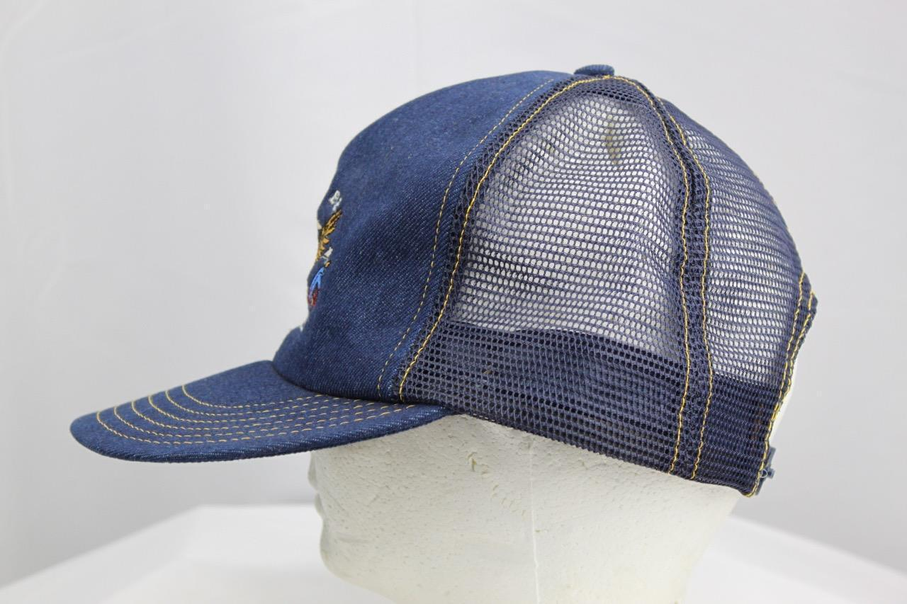 Proud To Be American Embroidered Snapback Jean Mesh Trucker Hat Made in USA image 4