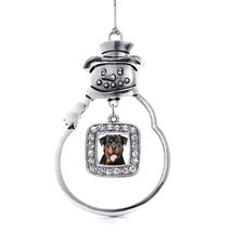 Inspired Silver Rottweiler Face Holiday Ornament - $14.69