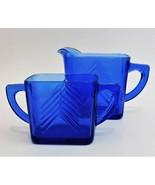 Hazel Atlas Cobalt Blue Depression Glass Chevron Sugar Bowl Creamer Vint... - $44.55