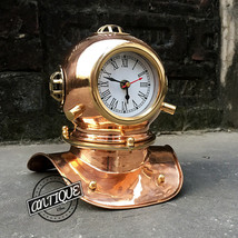 Home Vintage Furniture Decor Clock ~ Solid Scuba Helmet Desk Clocks Analog Gift~ - $65.45