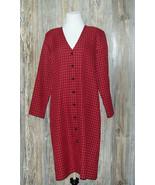 Vintage Nancy II Womens Dress Size 14 Red Black Check Plaid  - $22.76