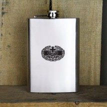 Distressed Army Basic Combat Medical Badge Medic Veteran Stainless Steel Flask - $19.79