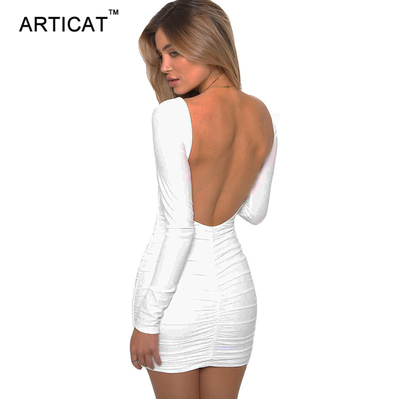 Primary image for Articay Long Sleeve Stretchy Sexy Backless Dress Short Slim Pleated Bandage Pen