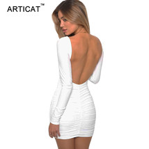 Articay Long Sleeve Stretchy Sexy Backless Dress Short Slim Pleated Band... - $36.72