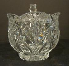 Beautiful Elegant Scalloped Crystal Candy Dish & Lid  - $11.00