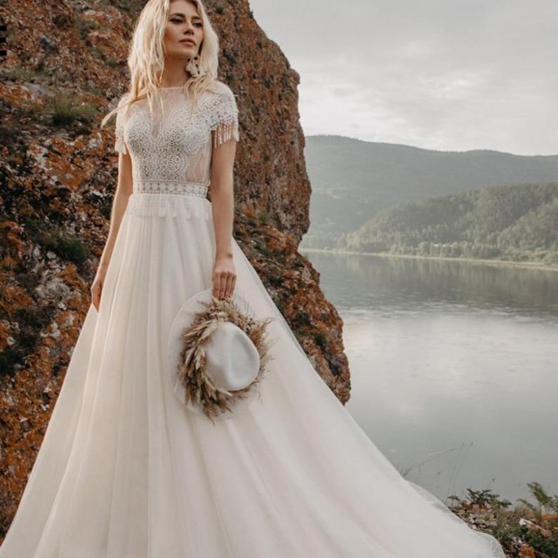 E 2020 bohemian wedding dresses lace appliques bridal gowns boho cap sleeve a line beach wedding