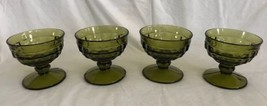 4 INDIANA Whitehall Colony Cubist/Cube Green Glass Dessert Fruit Dishes Footed - $19.99