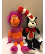 """Dr Seuss 2 Plush  Cat In The Hat 24"""" And Wocket In My Pocket 19"""" Universal - $12.19"""