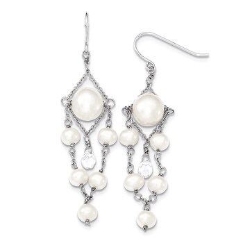Primary image for Lex & Lu Sterling Silver 5-10mm FW Cult. Pearls Swarovski Elements Dangle Ear