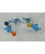 2013 McDonalds Smurf Toys Set of 4 Brainy, Grouchy, Harmony, Party Planner - $12.13
