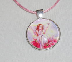 Pink Fairy Necklace, Fairy Charm, Pink Jewelry, Kids Jewelry, Adult Jewelry - $6.99