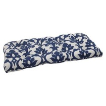"Pillow Perfect Outdoor/Indoor Basalto Navy Tufted Loveseat Cushion, 44"" ... - £37.60 GBP"