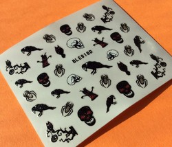BANG STORE Nail Art 3D Glitter Decal Stickers Halloween Skull Crow Spider Owl  - $3.67