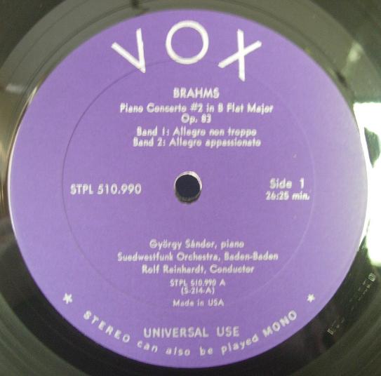 Gyorgy Sandor - BRAHMS Piano Concerto No. 2 - VOX STPL 510.9