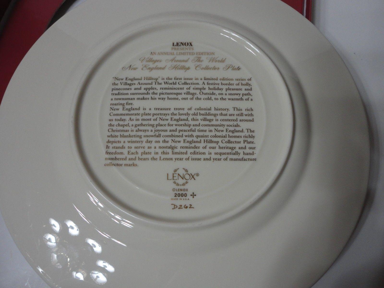 2000 LENOX CHRISTMAS VILLAGES AROUND WORLD NEW ENGLAND HILLTOP ANNUAL PLATE MIB