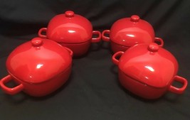 Mini Casserole Red Crocks Set Of 4 With Lids Chili/Soup Bowls - $26.01