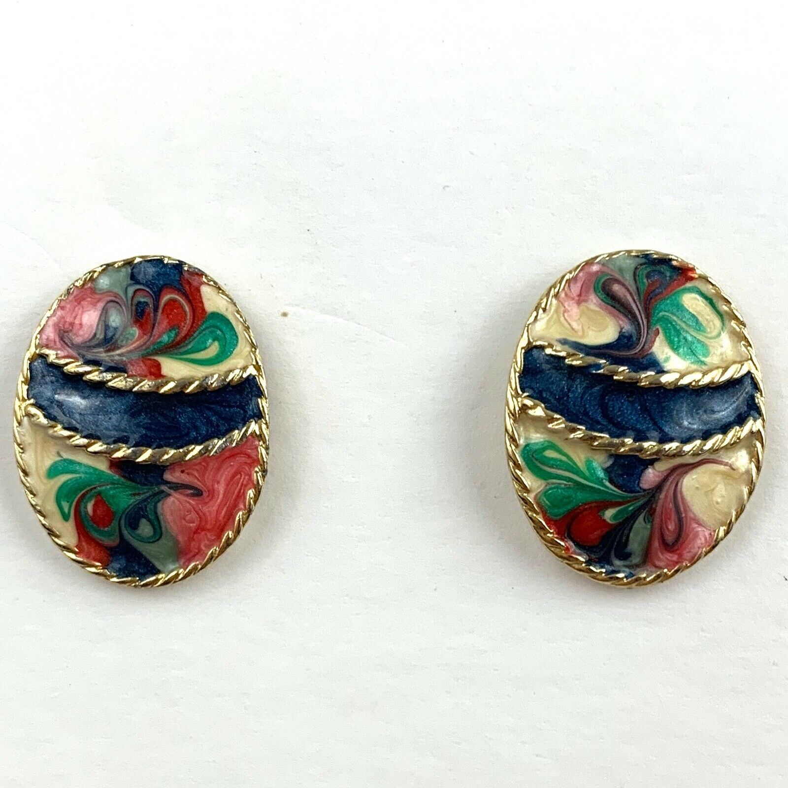 Primary image for Vintage Multicolor Enamel Swirl Pierced Earrings Gold Tone Rope Texture Pink Blu