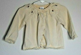 Gymboree Cream/Ivory Button Up Sweater Roses Sz 6-12 Months - $15.85