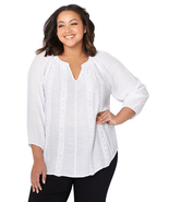 White Embroidered Stripe Plus Size Peasant Top  - $19.47