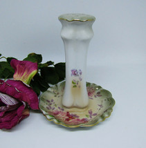 R S Olive Green Pink Roses Pastel Hatpin Holder Repro - $29.21