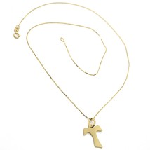 Necklace Yellow Gold or White 750 18K, cross Tau 1.7 cm, Chain Venetian ... - $220.05