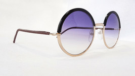 Cutler & Gross Women's Sunglasses 1070 B-GINK Black/Gold Round 145 ITALY... - $175.00