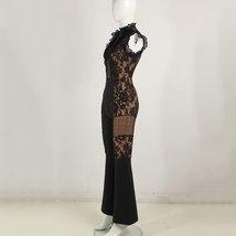 Summer Runway Fashion Sleeveless Black Lace Mesh Illusion Designer Jumpsuit image 3