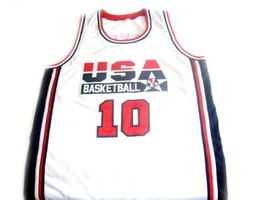 Clyde Drexler #10 Team USA Basketball Jersey White Any Size image 1