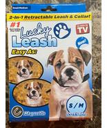 Retractable Magnetic Dog Leash Lucky Leash w/Collar 2-in-1 (S/M) SAME-DA... - $12.86