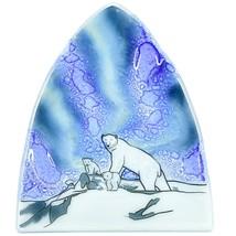 Fused Art Glass Northern Lights Polar Bear Design Nightlight Handmade Ecuador image 2