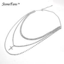 StoneFans Collar Multi Layer Choker Necklace Crystal Rhinestone Cross Ch... - $9.92